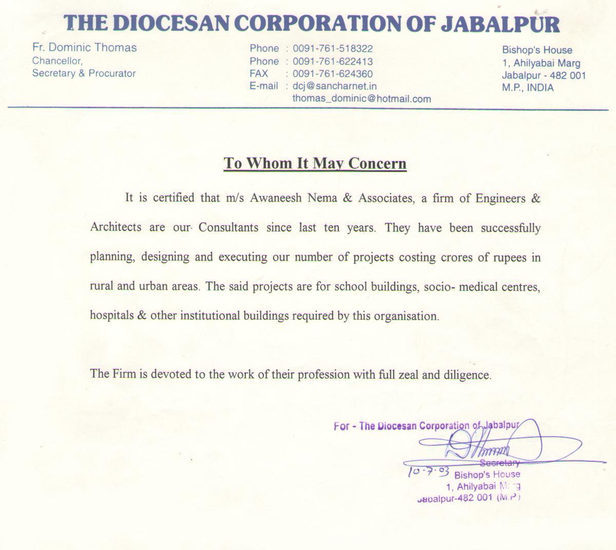 Diocesan Corporation Jabalpur